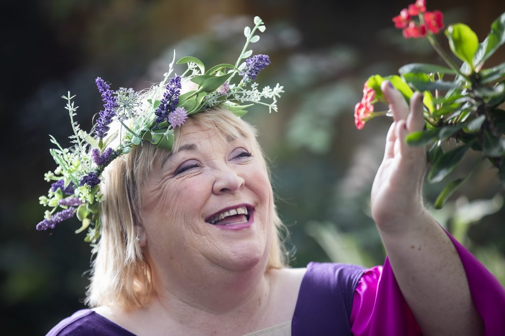 c397fd69739 Pictured  Michelle Porter as Fairy Queen Titania. She is wearing a flower  garland and a purple